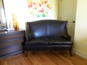 Genuine leather loveseat for sale