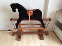 Antique rocking horse and large chest
