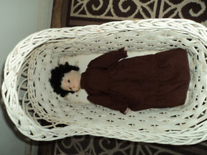 Vintage Wicker Doll Cradle With Doll