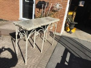 Unusual cement side table - rustic