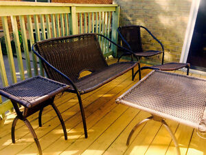 Beautiful eight piece outdoor resin wicker patio set in taupe