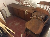 Free wooden chairs and side cabinet