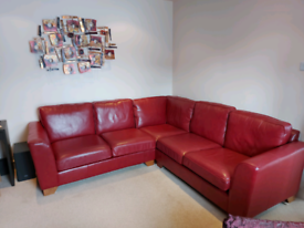 M & S Leather Corner Sofa