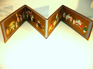 JAPANESE folding Hand Painted Story Panels TRAVELLING ROYALTY
