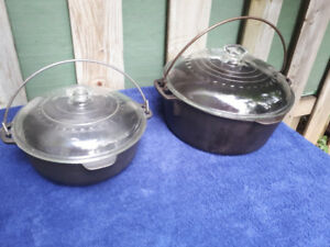 Set of 2 Vintage wagner ware cast iron dutch oven 2 Qt and 5 Qt