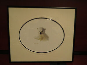 metal framed print of baby polar bear cub