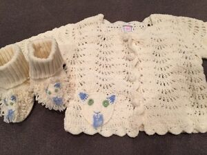 April Cornell sweater with matching booties - worn once! 6M