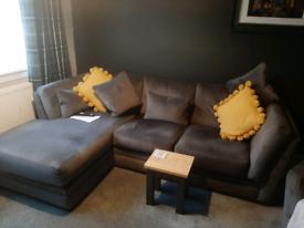 Grey velour sofa