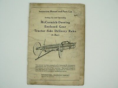 Enclosed Gear Tractor Side Delivery Rake Manual Parts Mccormick Deering 1944