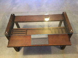 Modern desk with glass top