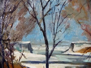 """Original Oil Painting, H. Oswald Stacey  OCA """"January Thaw"""" 1945 Stratford Kitchener Area image 3"""