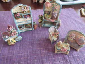 Exquisite little wicker garden set miniatures for doll house