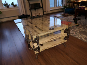 Industrial pipe coffee table - one of a kind