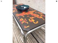 Retro Vintage Mid Century Orange / Red Patterned Top Coffee / Side Table