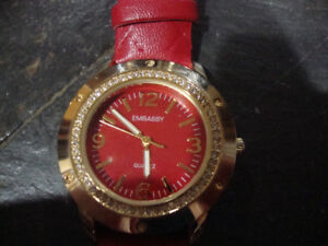 Woman's Embassy Watch - Red Face with Red Leather Band