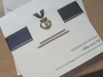 Nautical Wedding Invitations (LuxuryThemed Wedding Invitations- Navy / Nautical / Anchor / Sailing - Many)