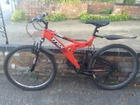 """Mens TRAX Bicycle • 18"""" Full suspension • d-Lock included"""