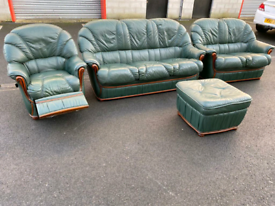 Green Leather 3&2 Seater Sofas, Recliner Chair and Footstool