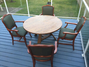 A Dark Oak Dining Table n 4 Green Upholstered Chairs
