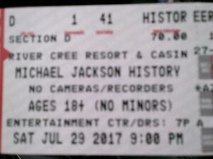 2 Tickets Michael Jackson History River Cree July 29 FRONT ROW