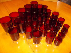 Large lot of 32 Vintage Ruby Red Glasses-Made in France