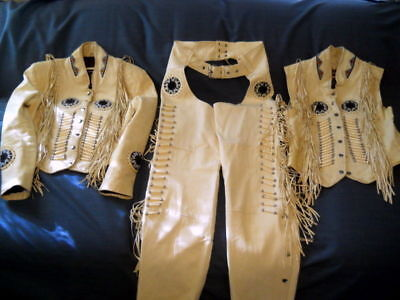 3 Piece Handmade Vest (Native America Mens Cream Western Cowboy Leather 3 Piece Suit Fringes Bone Beads )