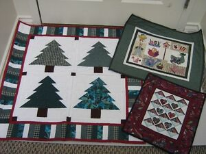 Quilt Tree hanging/2minature quilts, hand quilted