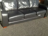 Black leather 3 seater and chair