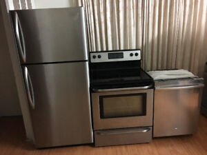 3 piece stainless steel kitchen appliance set fridge stove washe