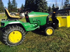 john deere 425 tractor mower snowblower power broom