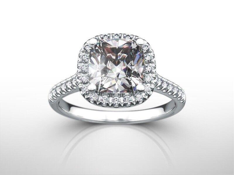 2 Ct Cushion Cut G/vs2  Diamond  Halo Engagement Ring 14k White Gold