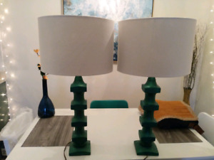Two Large Emerald Green Lamps