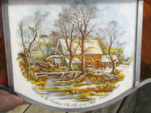 """Antique Currier & Ives Ceiling Lamp Stain Glass Shade Dia. 20.5"""" Stratford Kitchener Area image 9"""