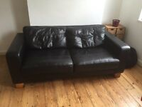 Black leather two seater sofa £60