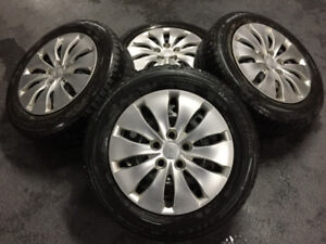 HONDA 205/60R16 Michelin Winter Tires on Rims, Hubcaps, and TPS