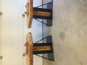 Hand crafted wood/steel end tables