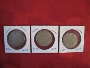 Very Rare 50 cent coins 1916,1918,1919 $80 Firm for all