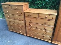Solid pine chests of drawers possible delivery