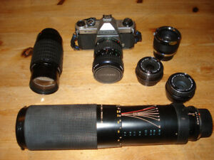 Pentax classic 35mm camera and multiple lenses