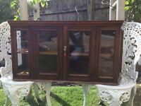 Unique vintage pine glass cabinet