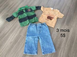 Lots de vêtements pour garçon nouveau-né à 3 mois
