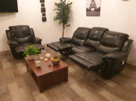 Dfs black genuine leather 3+1 recliner sofas