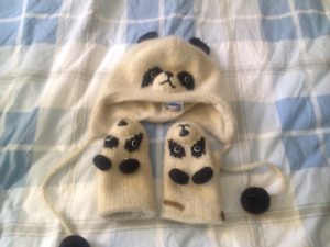 Girls Panda hat and mittens, deLux, Size M/L