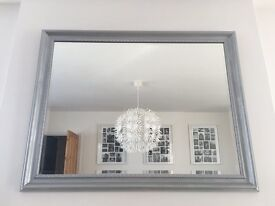 Silver painted wooden mirror