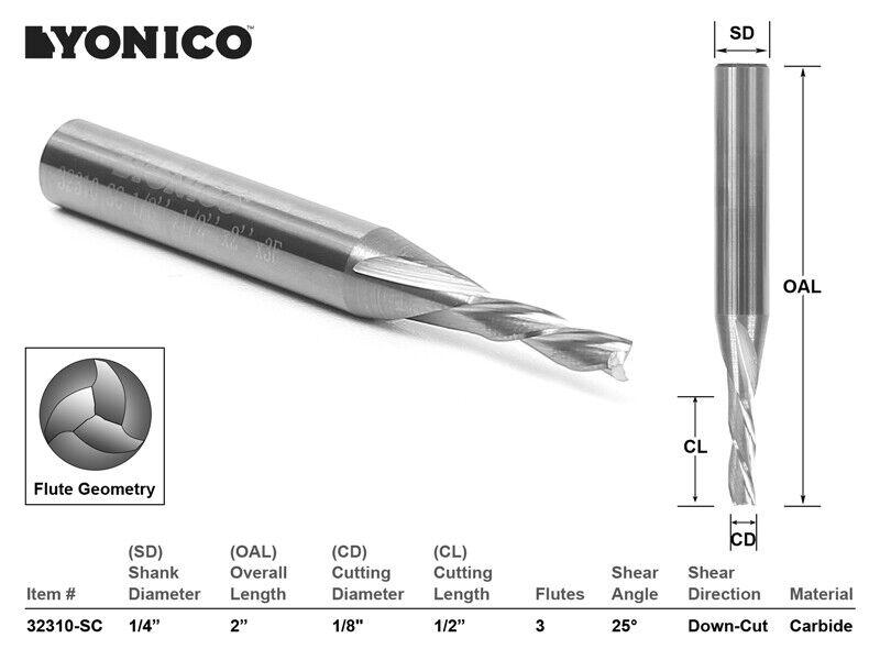 """1/8"""" Dia. 3 Flute Downcut CNC Router Bit - 1/4"""" Shank - Yonico 32310-SC"""