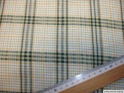 1 Lfm Baumwollstoff 2,63€/m² natur beige grün  kariert  93cm breit JB16