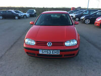 2003 53 Volkswagen Golf 1.9TDI PD Match Diesel Red 5 Door MOT November 2018.