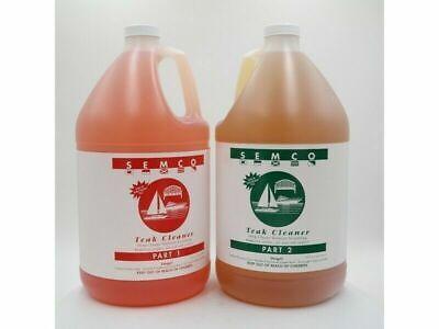 Semco Teak 2 Part Cleaner Treatment Sealer Remover (1 Gallon) Deep Clean Stain 2 Part Teak Cleaner