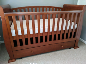Cot Cotbed Sleigh bed style solid wood with storage drawer 3 in 1 bed