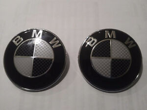 Bmw 82 mm 2 Hood Trunk Emblem Carbon Fibre Black White